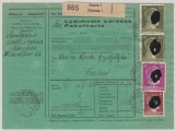 Dt. Bes. Ostland, 1942, DR / Ostland MiF auf Litauischer Paketkarte für 1 Paket von Kauen nach Trakai, sehr selten!