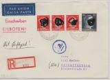 Durch Deutsche DP / Dt. Bes. Ostland, 1944, 80 Pfg. AH u.a. als MiF auf R.- Eilboten- Lupobrief von Kemmern nach Aschaffenburg