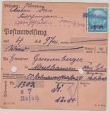 Dt. Bes. Elsass, Nr. 9 als EF auf Postanweisung über 4,97 RM, von Westhalten nach Mülhausen (Oberr- Els.) Sehr selten!