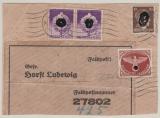 DR Felpostmarke 2 (u.a.) auf gr. Teil eines Päckchen- Adressaufkleber, für ein Päckchen von Greifswald- Front