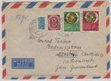 BRD Mi. Nr.: 141-42(I) + 131 als MiF auf Lupo- Auslandsbrief, von Kitzingen nach Madem Lakos (Griechenland)! Seltene MiF!!!