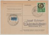 BRD Mi. Nr.: 141 als reine EF auf Fernpostkarte von Wuppertal nach Lörrach, mit anlaßbezogenem Sonderstempel!