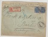 Finnland, 1897, 2x 25 Pen. als MeF auf Auslands- Einschreiben von Helsingfors nach Berlin, rs. mit Ankunftsstemepel