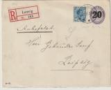 Dänemark, 1920, 20 Öre- Überdruck- GS- Umschlag + Zusatzfrankatur als Auslands- Einschreiben von Lemvig nach Hamburg