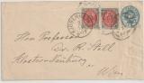 Dänemark, 1890, 4 Öre- GS- Umschlag + 2x 8 Öre als Zusatzfrankatur auf Auslandsbrief von von Kopenhagen nach Wien