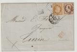Frankreich, 1855 (?), 50 Centimes MiF auf Auslandsbrief von Nantes- Paris (Bahnpost?) nach Turin (I)