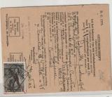 Belgien, 1948, 10 Fr. EF auf Arbeitsausweis (?) als Beglaubigungsgebühr verwendet (?) Hochinteressantes Stück!