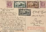 Belgien, 1935, schöne MiF auf Ausstellungspostkarte von Brüssel nach Pesan (Fr.)