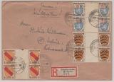 FRZ / Allgem. Ausgaben, nette MiF (mit 6x ZS!) auf Einschreiben- Fernbrief von Pfeddersheim nach Erfuhrt