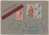 FRZ / Rheinland- Pfalz, 1 x 1 Mk. + 1x 60 Pfg. + 2x 2 Pfg. als MiF auf Einschreiben- Eilboten Fernbrief von Rübenach nach Pößneck