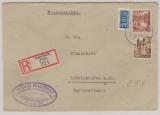 FRZ / Rheinland- Pfalz, 1x 40 Pfg. + 1x 20 Pfg. als MiF auf Einschreiben- fernbrief von Ingelheim nach Ludwigshafen