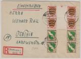 FRZ / Allgemeine Ausgabe, nette MiF (mit ZS!) auf Einschreiben- Fernbrief von Reutlingen nach Genthin