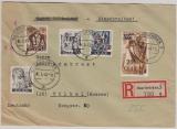 Saarland, Mi.- Nrn.: 237 Z u.a. als MiF auf Einschreiben- Fernbrief von Saarbrücken nach Vilbel