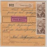 Saarland, Mi.- Nrn.: 288 (2x) u.a. als MiF auf Eilboten- Paketkarte von Ensdorf nach Rilchingen- Hanweiler (Sarbrücken 2)