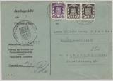 Saarland, DM Mi.- Nr.: 38 (2x) + 43 als MiF auf Umschlag für Postzustellungsurkunde von Homburg nach Altstadt