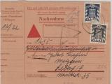 Saarland, DM Mi.- Nr.: 38 + 40 zusammen als MiF auf Dienst- Nachnahme (!) von Dillingen nach Lebach (?)