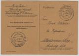 Kontrollrat / West, Not-GS, 6 Pfg. als Postkarte von Flensburg- Mürwik nach Weidenau gelaufen