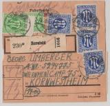 AM- Post, Mi. Nrn.: 2 (4x) + 9 (18x) vs + rs. auf Paketkarte für ein Paket von Hersfeld nach POW Camp Kornwestheim