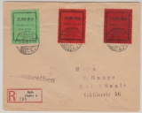 Halle, farbige Gebührenmarken, kpl. Satz verwendet auf Ortsbrief- Einschreiben innerhalb von Halle
