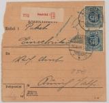 Infla, (DM) Mi.- Nr.: 31 (2x), MeF auf Innendienst- Einschreiben- Paketkarte von Osnabrück nach Aurich, Sehr selten!