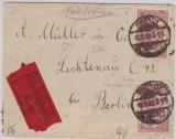 Infla, Mi.- Nr.: 115 (2x) als MeF auf Eilboten- Fernbrief von Rheydt nach Berlin! Geprüft Infla!