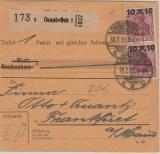 Infla, Mi.- Nr.: 157 (2x) als MeF auf Paketkarte für 1 Paket von Osnabrück nach FF/M! Selten!