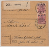 Infla, Mi.- Nr.: 155 (2x) als MeF auf Paketkarte für 1 Paket von Weilburg nach FF/M! Selten!