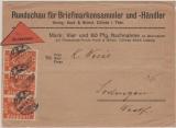 Infla, Mi.- Nr.: 111 (3x) als MeF auf Nachnahme- Fernbrief von Cölleda nach Sodingen! Geprüft Infla! Selten!