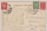 Weimar; 1925,  Dtld. + Spanien MiF auf Postkarte per Deutsche Seepost, Spanienfahrt Norddeutscher- Loyd,