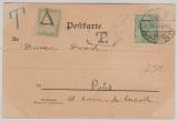 Kaiserreich, Mi.- Nr.: 70 in MiF mit französischer Nachportofrankatur auf Auslandskarte von Cöln (?) nach Paris (Fr.)