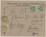 Kaiserreich, Mi.- Nr.: 70 (2x) in MiF mit schweizer Nachportofrankatur auf Auslandsbrief von Spandau in die Schweiz