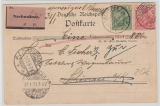 Kaiserreich, Mi.- Nr.: 55 + 56 als MiF auf Nachnahme- Fernpostkarte von  Neurode nach Schönau und zurück! Selten!