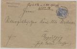Kaiserreich, Mi.- Nr.: 57, als EF auf portopflichtiger Dienstsache von Dresden nach Gepülzig (Erlau)