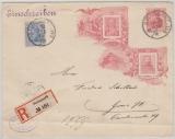 Kaiserreich, 10 Pfg.- privat- GS- Umschlag + Mi.- Nr.: 72 als Zusatzfrankatur, auf Einschreiben- Fernbrief von Stuttgart nach Greiz