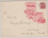 Kaiserreich, 10 Pfg.- privat- GS- Umschlag (Kaiserpaar) gelaufen als Ortsbrief innerhalb Leipzig´s