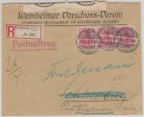 Kaiserreich, Mi.- Nr.: 71 (3x) als MeF auf Eingeschriebenem Postauftrag von Weinheim nach (Berlin-) Friedenau