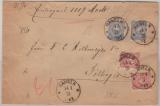 Pfennige, Mi.- Nr.: 33 (2x) + 34 (2x) als MiF auf Wertbrief von Hameln nach Göttingen