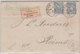 Pfennige, Mi.- Nr.: 34 (2x) als MeF auf Auslands- Einschreiben von Leipzig nach Reims (F)