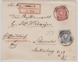 Pfennige, Mi.- Nr.: 33 + 34 als MiF auf Einschreiben- Fernbrief von Cammin nach Schwerin