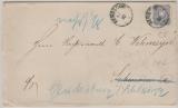 Pfennige, Mi.- Nr.: 34 CE als EF auf Fernbrief von Bergedorf nach Schwerin, und von hier weitergesandt nach Glücksburg