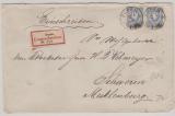 Pfennige, Mi.- Nr.: 34 (2x) als MiF auf Einschreiben- Fernbrief von Eupen nach Schwerin
