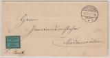 Dienstpost, 1899,  Frei laut Avers Nr. 5 (mit Aufkleber) = Schaumburg- Lippe, auf Brief von Stadthagen nach Niederwöhren
