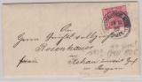 Krone + Adler, (1889!) Mi.- Nr.: 47aa (geprüft Zenker BPP) als EF, auf Fernbrief von ... Berg nach Rehau