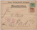 Krone + Adler, Mi.- Nr.: 46 + 49 als MiF, auf Einschreiben- Fernbrief von Aachen nach Forst