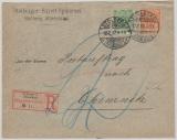 Krone + Adler, Mi.- Nr.: 46 + 49 als MiF, auf Eingeschriebenem Postauftrag von Stolberg nach Chemnitz