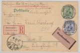 Kaiserreich; 1902, Germania, 5 Pfg.- GS + Mi.- Nr.: 72 als Zusatz, als MiF auf Auslands- Einschreiben- Nachname- Postkarte nach Wien