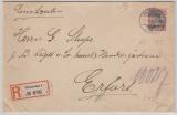 Kaiserreich; 1906, Germania, Mi.- Nr.: 75 als EF auf Einschreiben- Fernbrief von Wiesbaden nach Erfurt
