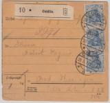 Kaiserreich; 1918, Germania, Mi.- Nr.: 87 IIc (3x) als MeF auf Paketkarte von Colditz nach Bad Kissingen, gepr. Jäschke- L. BPP