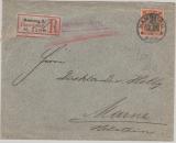 Kaiserreich; 1902, Germania, Mi.- Nr.: 74 als EF auf Einschreiben- Fernbrief von Hamburg nach Marne