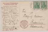 Kaiserreich; 1902, Germania, Mi.- Nr.: 70 (2x) als MeF auf Auslandspostkarte von Dresden nach Fredericia (DK)
